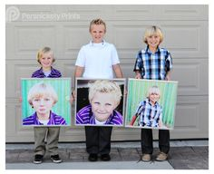 20x20 Photographic Enlargements mounted and placed in cheap Ikea frames (removed glass)