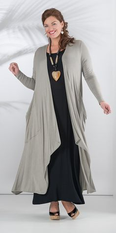 Join Clothes beige long knitted cardigan and dress