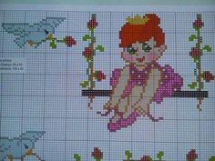 Princesa no balanço..... Cross Stitch Baby, Cross Stitch Designs, Betty Boop, Sweet Girls, Embroidery Designs, Art Gallery, Handmade, Fictional Characters, Cross Stitch House