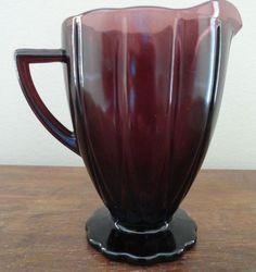 BIN $9.99 / Shipping $9.00  10.28.15 - HAZEL ATLAS Glass  Newport Hairpin  Amethyst Purple Creamer / Pitcher