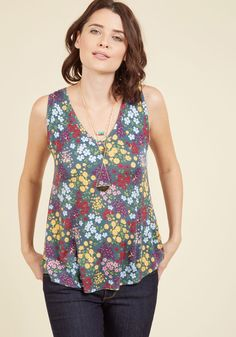 Infinite Options Tank Top in Wildflowers - Knit, Mid-length, Green, Floral, Work, Casual, A-line, Sleeveless, Winter, Better, V Neck