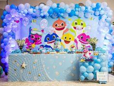 Baby Shark Party: 70 Animal Decorating Ideas and Tutorials Shark Birthday Cakes, Boy Birthday Parties, Baby Birthday, Shark Party Decorations, Birthday Party Decorations, Shark Party Supplies, Birthday Backdrop, Party Kit, Baby Shark