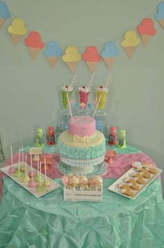 Dessert table at an ice cream birthday party! See more party planning ideas at… Dessert Table Birthday, Birthday Desserts, Birthday Party Games, Birthday Party Decorations, Girl Birthday, Party Themes, Ideas Party, Dessert Tables, Birthday Ideas