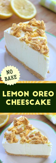 This Triple Lemon Oreo Cheesecake: No Bake Recipe Mom Foodie is a good for your Breakfast made with wholesome ingredients! Dairy, gluten, grain free and paleo too!, Our oreo cheesecake Recipes very delicious, we can try to make this Lemon Cheesecake Recipes, Banana Dessert Recipes, No Cook Desserts, Lemon Desserts, Lemon Recipes, Just Desserts, Sweet Recipes, Cheesecake Desserts, Donut Recipes