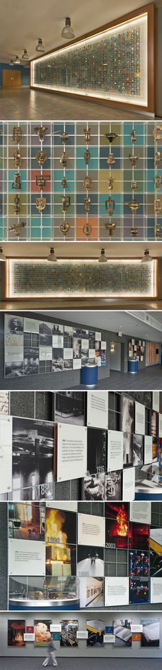 FM Global's historic sprinkler display, the timeline of the company's 175-year history, and the visitors' meeting room displays at the corporation's Research Campus in Gloucester, RI.