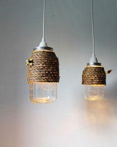 The Hive  Half Gallon Mason Jar Pendant Light  by BootsNGus, $45.00