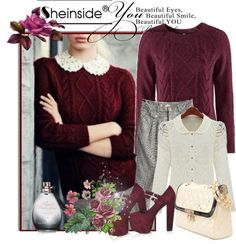 """Wine Red Long Sleeve Geometric Pullovers Sweater"" by ladymargaret ❤ liked on Polyvore"