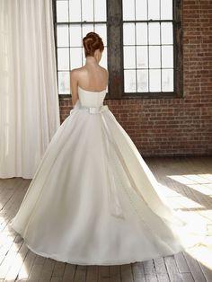 4808 Organza With Beaded Sash Wedding Dress (Back) – Mori Lee Blu 2011 Collection
