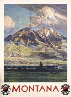 Old 1930s Northern Pacific Rail Travel Poster MONTANA