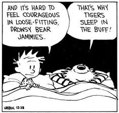 Calvin and Hobbes (edited by DA) - It's hard to feel courageous in loose-fitting, drowsy bear jammies. Calvin And Hobbes Comics, Calvin And Hobbes Quotes, Hobbes And Bacon, The Awkward Yeti, John Calvin, Wit And Wisdom, Fun Comics, Comic Strips, Manga