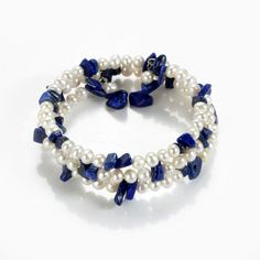 White Freshwater Pearl Nugget Lapis Lazuli Bracelet Memory Wire Adjustable - New Ideas Gold Pearl Ring, Baroque Pearl Necklace, Pearl Jewelry, Pearl Necklaces, Gemstone Jewelry, Coral Bracelet, Bracelet Set, Beaded Bracelets, Strand Bracelet