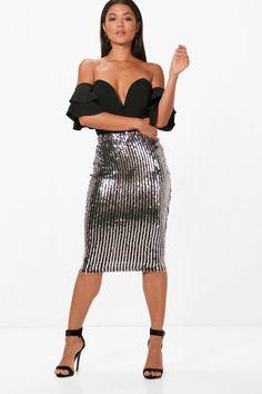 Isobel Sequin Stripe Midi Skirt