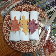 Autumn Leaves Thanksgiving Napkin Rings  by cookiedoughcreations, $13.95