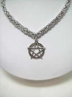 Pagan necklace Pentacle chainmaille jewelry by Eternalelfcreations, $35.00