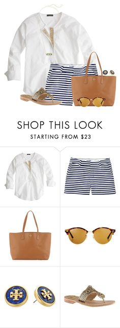 """Happy National Peanut Butter cookie day❤"" by flroasburn on Polyvore featuring J.Crew, Old Navy, Tory Burch, Ray-Ban, Jack Rogers and Kendra Scott"