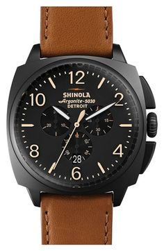 Free shipping and returns on Shinola 'The Brakeman' Chronograph Leather Strap Watch, 46mm at Nordstrom.com. Inspired by the watches of locomotive brakemen of the early 1900s, a handcrafted watch offers classic American style powered by an innovative Detroit-built quartz movement. A magnified date window and luminous markers detail the easy-to-read chronograph dial beneath a sapphire crystal face. The handsome cushion case and genuine leather strap create a tailored silhouette that ...