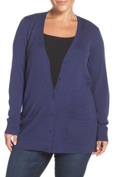 Ribbed V-Neck Cardigan (Plus Size & Petite Plus)