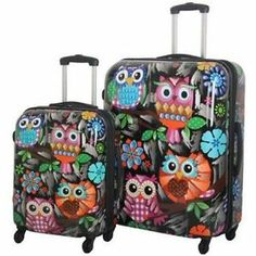 2 Piece Travel Luggage Set Spinner Suitcase Rolling Travel Expandable Owl | eBay #luggage #spinner #hardside #rolling #expandable #owl