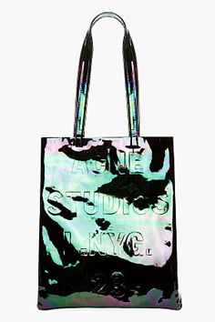 ACNE STUDIOS Black Iridescent Patent Leather Rumor Tote Bag | Cynthia Reccord