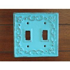 On Today Light Switch Plate Cover Shabby Chic Switch Cover Cast Iron Switch cover/turquoise B