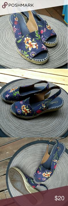 """Summer Fun with Floral Espadrilles! Size 7 Oh-so-pretty Clarks floral fabric espadrilles. Straw-covered 2.5"""" wedge heels. Slingback with elastic tab for a bit of stretch. Like-new condition! Clarks Shoes Espadrilles"""