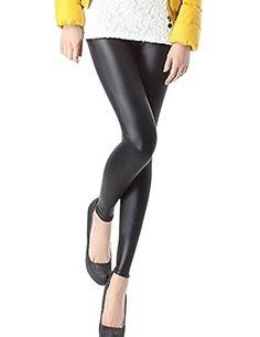 e35eb3b7103 Tanming Women s Black Warm Slim Fur Lining Leather Leggings Leather Trousers