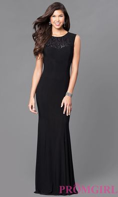 Image of long cap-sleeve prom dress with sequins. Front Image