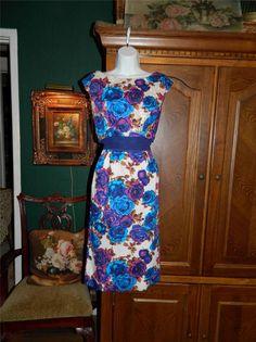 Vintage 50's 60's Print Wiggle Dress w Sequins Mad Men S | eBay