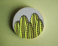 Small Gray Cactus Wall Hanging | Cactus Art | Mini Cactus Painting | Original Cactus Illustration
