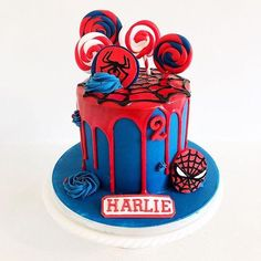 With great power, comes great responsibility 🕷 Loved this bold and bright Spiderman cake for a 2 year old little girl❤️💙 Everything… Spiderman Cake Topper, Spiderman Birthday Cake, Superhero Cake, Men Birthday, Birthday Gifts, Happy Birthday, Novelty Birthday Cakes, Drip Cakes, Cute Cakes