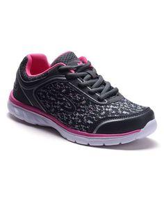 Gray & Pink Leopard Detail Sneaker