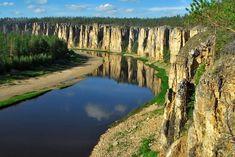 """SOUND: http://www.ruspeach.com/en/news/8048/     Вдоль реки Лены в Якутии вытянулись удивительные геологические образования, которые получили название """"Ленские Столбы"""". Здесь находится огромный природный парк и развит экологический туризм.       There are surprising geological pillars along the Lena River in Yakutia"""