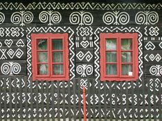 Painted house in Cicmany, Slovakia, slovak folk design Woman Painting, House Painting, Natural Architecture, Home Altar, Family Roots, Unusual Homes, Call Art, Pattern Images, Earthship