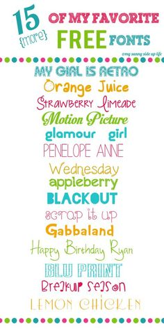 15 (more) of my favorite free fonts Here are some more of my favorite free font finds. a cute little mix of fun, classy, and quirky for all your graphic needs! Be sure to check out my other post of fonts if you like these! My Girl. Silhouette Fonts, Silhouette Cameo Projects, Silhouette Machine, Cute Fonts, Fancy Fonts, Awesome Fonts, Fuentes Silhouette, Web Design, Type Design