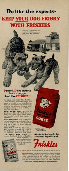 """Keep Your Dog Frisky With Friskies"" 1953 Friskies Dog Food (Airedale)"