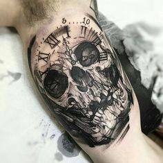 By Fredão Oliveira | Brazil | #Blackwork #BlackworkTattoo #Tattoo #Skull #Clock…