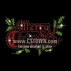 Sparkling Merry Christmas Iron on Rhinestone Transfer Motif