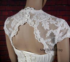 Cap Sleeve Ivory Lace Wedding Jacket Bridal Bolero by StarsBridal Wedding Gowns, Lace Wedding, Lace Shrug, Bridal Bolero, Wedding Jacket, Cap Sleeves, Ivory, Trending Outfits, Jackets