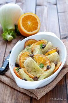 Gustosi #finocchi cotti al forno con #arance e #olive nere, semplicissimi e leggeri. #ricetta #ricettelight #vegan #vegetarian #contorniveloci #createtoinspire