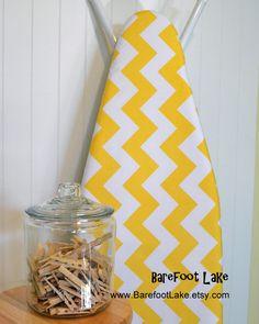 Designer Ironing Board Cover - Riley Blake Large Chevron Yellow. $24.00, via Etsy.