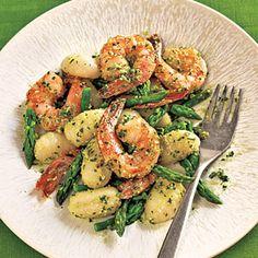 Gnocchi with Shrimp, Asparagus, and Pesto Recipe | MyRecipes.com Mobile