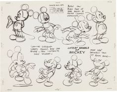 Mickey Mouse and Minnie Mouse Animation Model Sheet Group (Walt Disney, 1930). Amazing set of eight model sheets from early Disney Studios