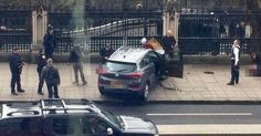 Eyewitnesses say a car travelled along the pavement at Westminster Bridge mowing people down before police shot a knifeman near Parliament