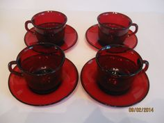 Vintage Set Of Four Arcoroc Ruby Red Cup/Saucer Sets