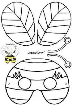 Kindergarten Mixed Mask Patterns (New) - Preschool Children Akctivitiys Bee Crafts, Crafts For Kids, Preschool Art Activities, Bee Party, Bugs And Insects, Printable Crafts, Mask For Kids, Beatitudes, February 11