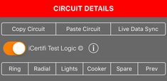 iCertifi's advanced #electrical circuit options allow, pre fill common #circuit data, sync test result data live from another device & monitor results for compliance with #BS7671, only with www.icertifi.co.uk/