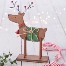 Nordic Standing Wooden Reindeer - Green