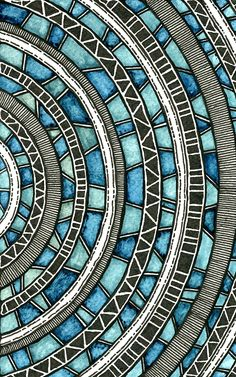 Circular Waves by Rebecca Blair - watercolor and ink #geometric #pattern #drawing
