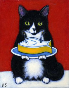 Tuxedo Cat original oil painting. Happy Birthday (Fishycake) by Heidi Shaulis
