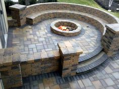 stone patio bench with firepit--want!